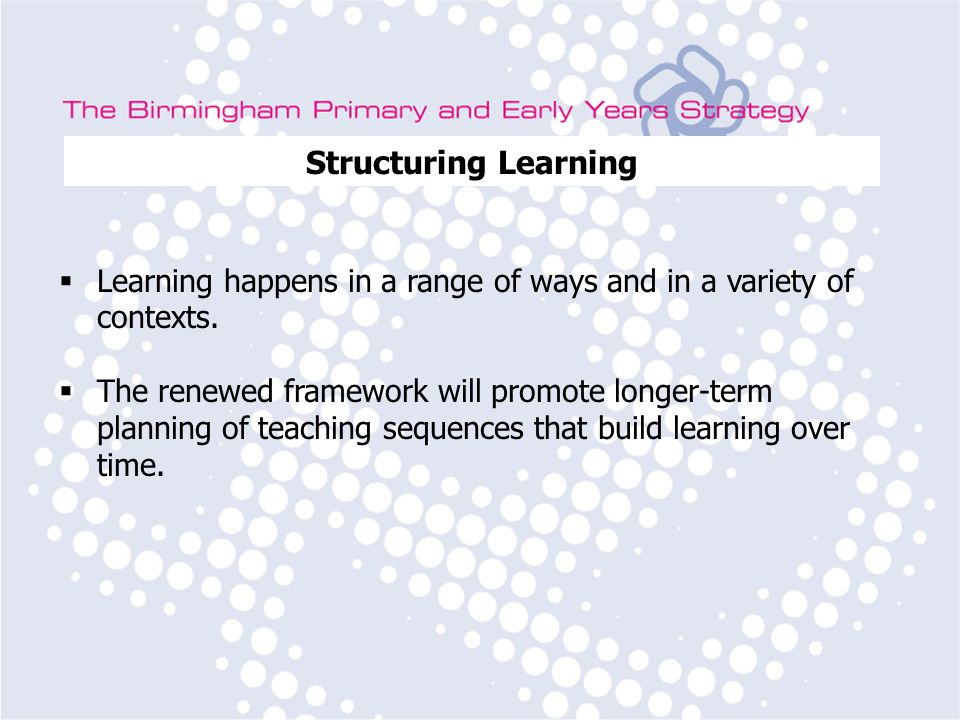 Birmingham Primary Strategy Team Subject Leader Training Structuring Learning  Learning happens in a range of ways and in a variety of contexts.