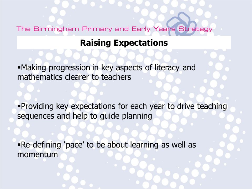 Birmingham Primary Strategy Team Subject Leader Training Raising Expectations  Revising the learning objectives around the acquisition of phonic knowledge for early reading, spelling and sentence level work  Smoothing and steepening the incline in expectations in mathematics across all years, particularly to inject more pace into Years 3, 4 and to provide more opportunity for consolidation of learning in Years 5 and 6