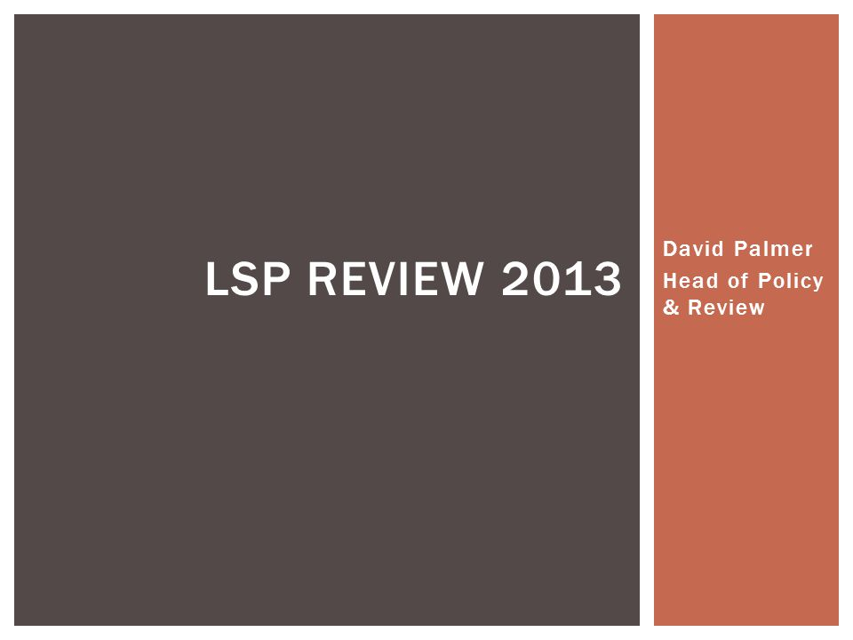 David Palmer Head of Policy & Review LSP REVIEW 2013