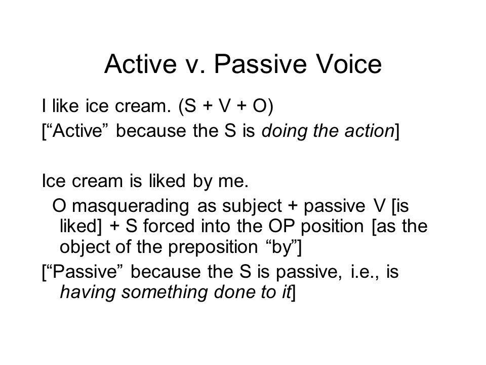Active v. Passive Voice I like ice cream.