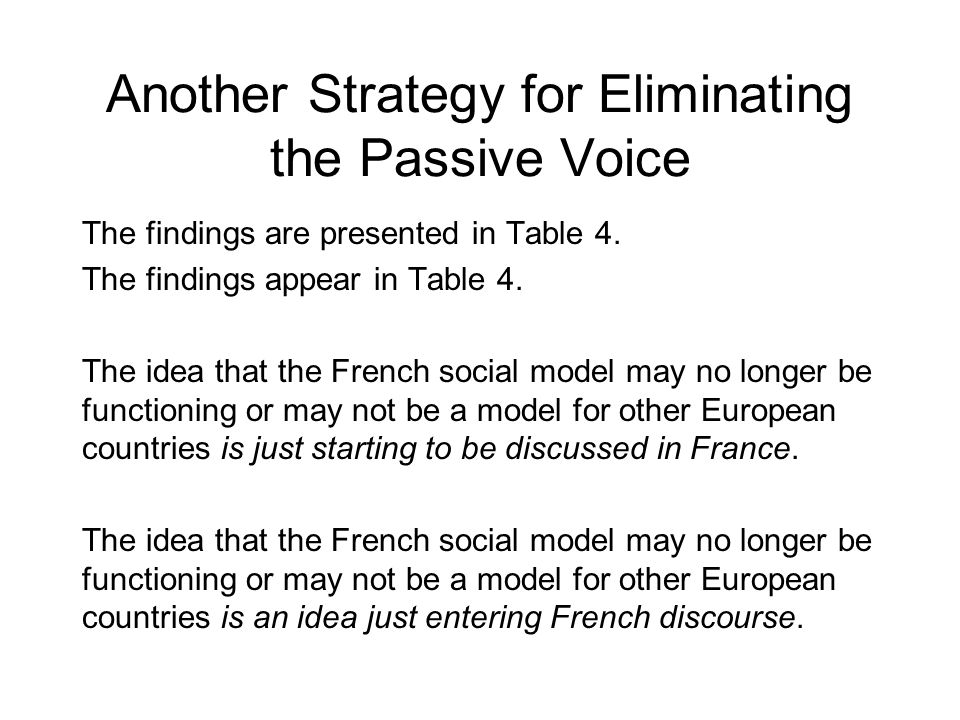 Another Strategy for Eliminating the Passive Voice The findings are presented in Table 4.