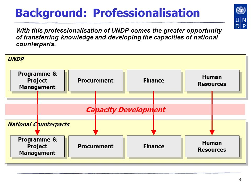 6 UNDP National Counterparts Background: Professionalisation With this professionalisation of UNDP comes the greater opportunity of transferring knowledge and developing the capacities of national counterparts.