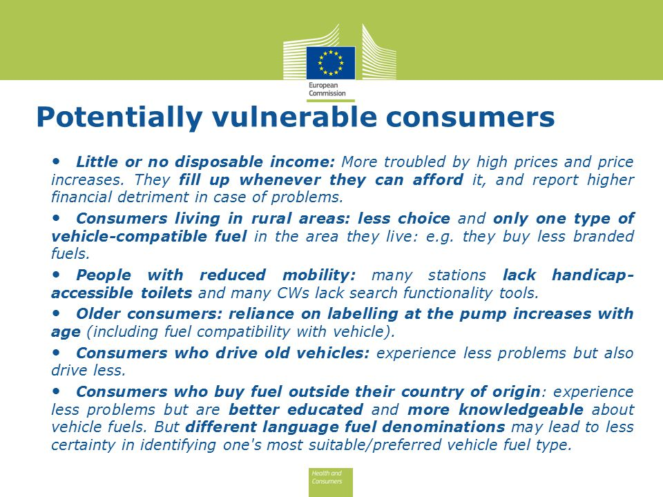 Potentially vulnerable consumers Little or no disposable income: More troubled by high prices and price increases.