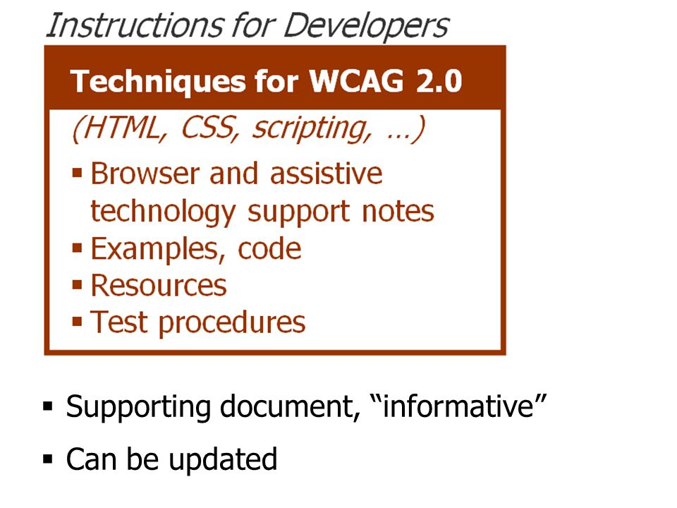 Techniques document  Supporting document, informative  Can be updated
