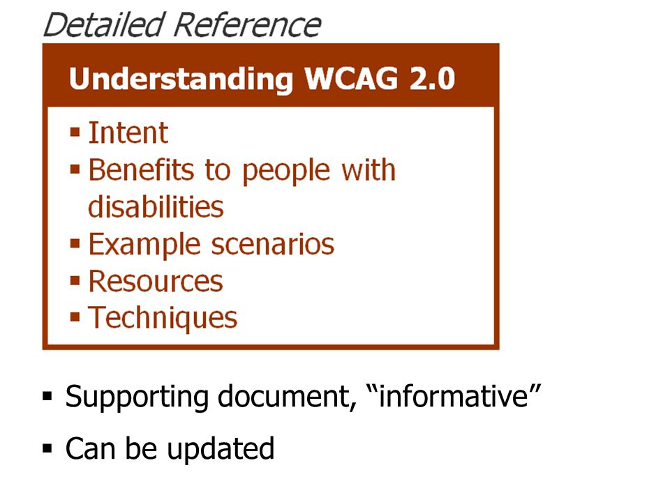 Understanding document  Supporting document, informative  Can be updated