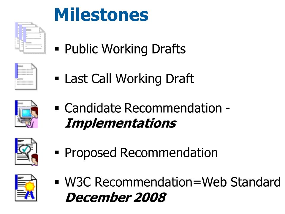 Milestones  Public Working Drafts  Last Call Working Draft  Candidate Recommendation - Implementations  Proposed Recommendation  W3C Recommendation=Web Standard December 2008