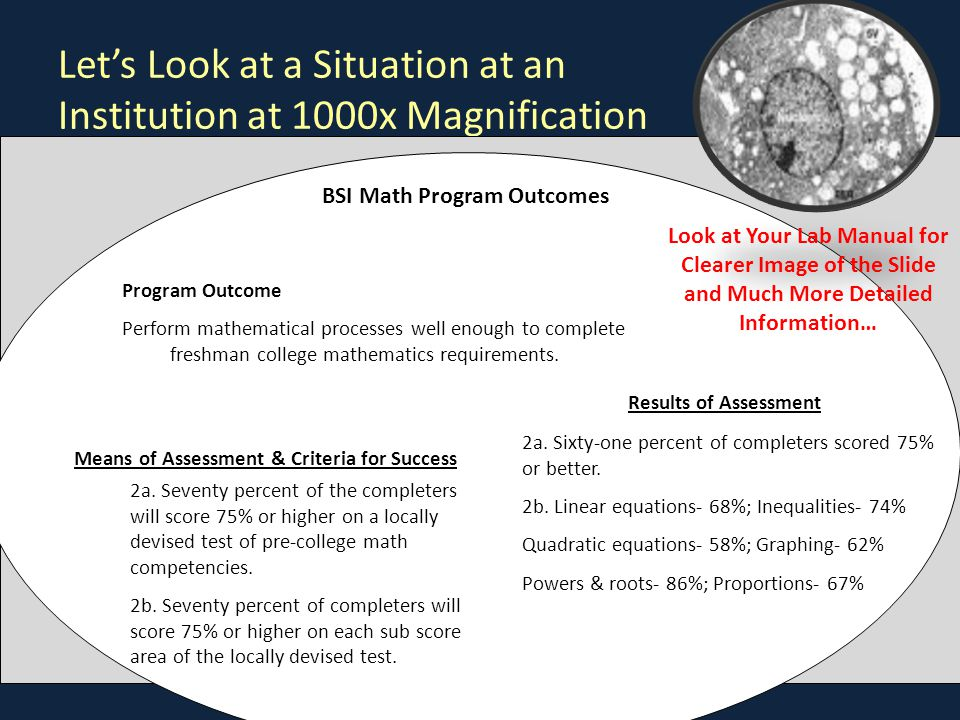 Let's Look at a Situation at an Institution at 1000x Magnification Program Outcome Perform mathematical processes well enough to complete freshman college mathematics requirements.