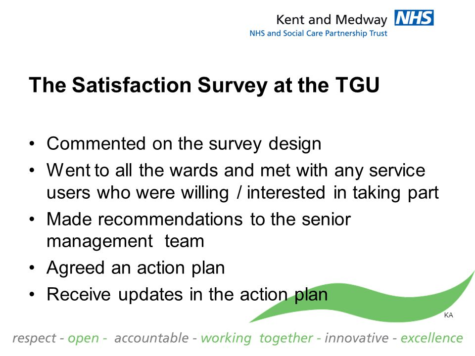 The Satisfaction Survey at the TGU Commented on the survey design Went to all the wards and met with any service users who were willing / interested i