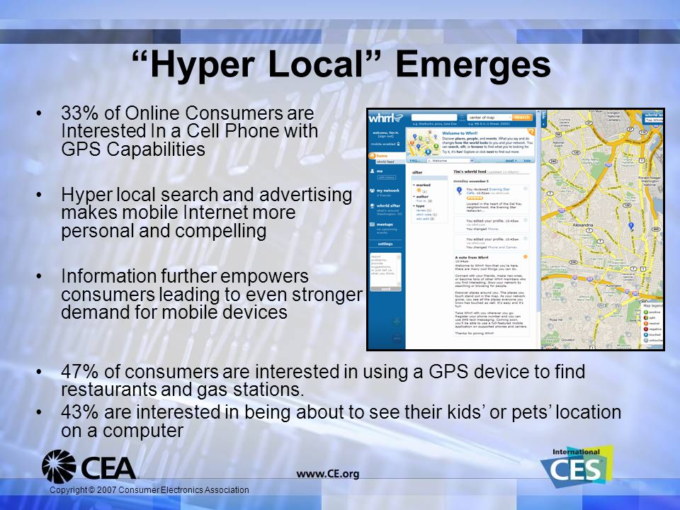 Copyright © 2007 Consumer Electronics Association Hyper Local Emerges 33% of Online Consumers are Interested In a Cell Phone with GPS Capabilities Hyper local search and advertising makes mobile Internet more personal and compelling Information further empowers consumers leading to even stronger demand for mobile devices 47% of consumers are interested in using a GPS device to find restaurants and gas stations.