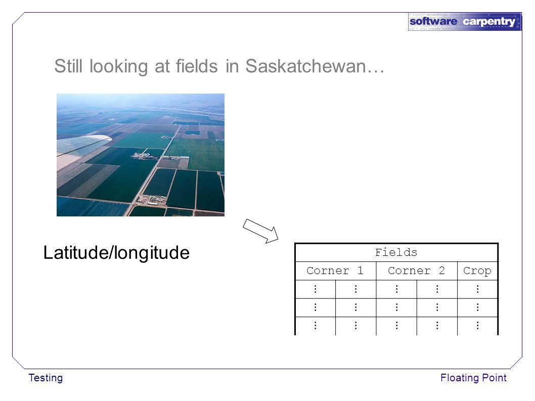 TestingFloating Point Still looking at fields in Saskatchewan… Fields Corner 1Corner 2Crop ⋮⋮⋮⋮⋮ ⋮⋮⋮⋮⋮ ⋮⋮⋮⋮⋮ Latitude/longitude