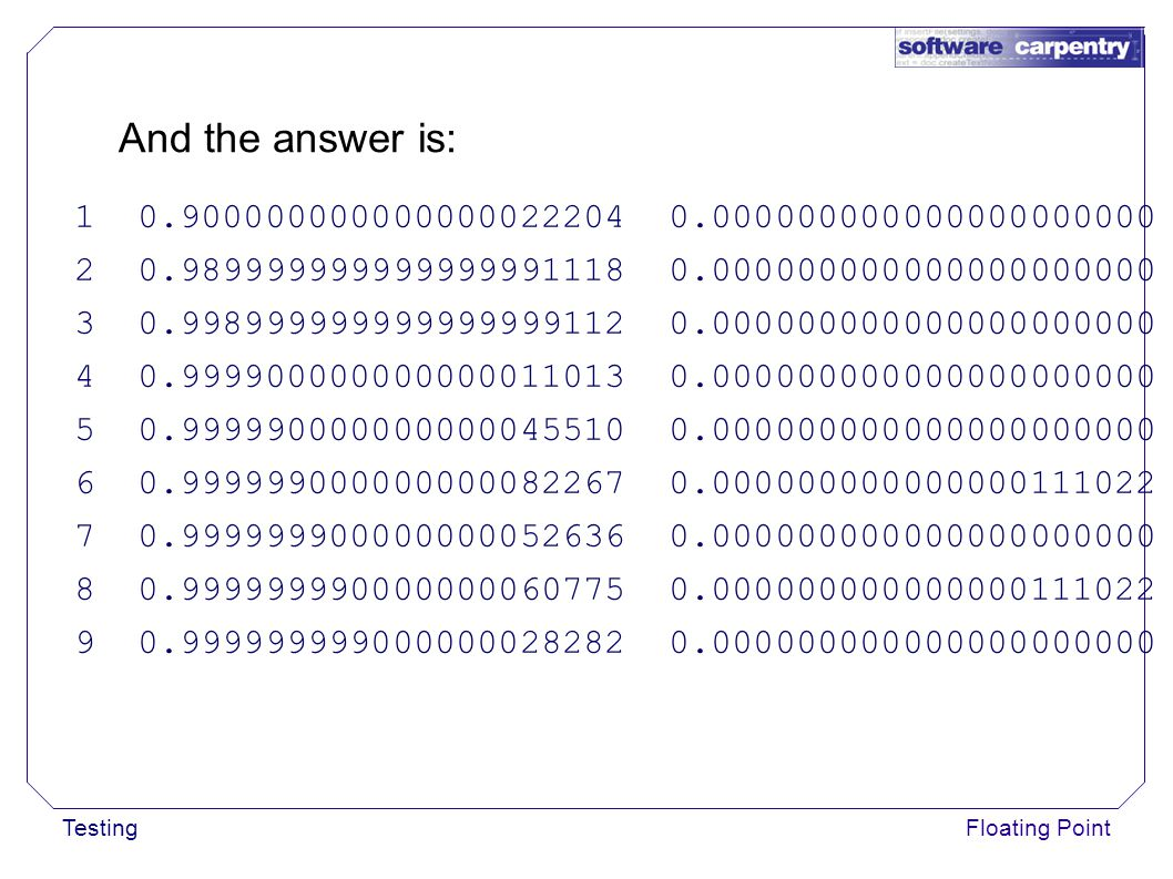 TestingFloating Point And the answer is: 1 0.900000000000000022204 0.000000000000000000000 2 0.989999999999999991118 0.000000000000000000000 3 0.998999999999999999112 0.000000000000000000000 4 0.999900000000000011013 0.000000000000000000000 5 0.999990000000000045510 0.000000000000000000000 6 0.999999000000000082267 0.000000000000000111022 7 0.999999900000000052636 0.000000000000000000000 8 0.999999990000000060775 0.000000000000000111022 9 0.999999999000000028282 0.000000000000000000000