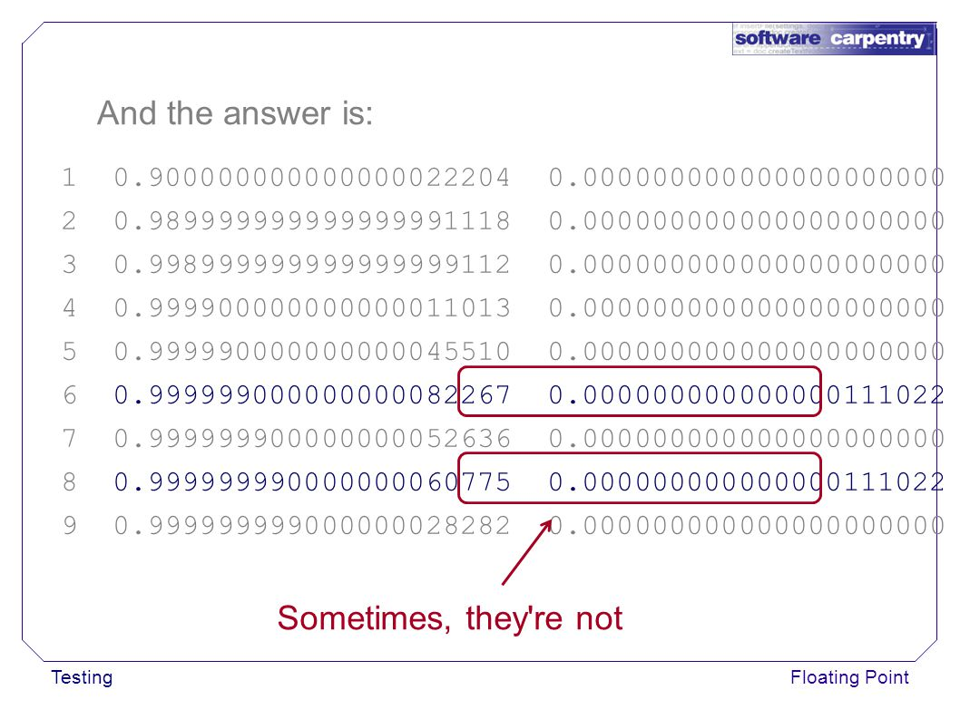 TestingFloating Point And the answer is: 1 0.900000000000000022204 0.000000000000000000000 2 0.989999999999999991118 0.000000000000000000000 3 0.998999999999999999112 0.000000000000000000000 4 0.999900000000000011013 0.000000000000000000000 5 0.999990000000000045510 0.000000000000000000000 6 0.999999000000000082267 0.000000000000000111022 7 0.999999900000000052636 0.000000000000000000000 8 0.999999990000000060775 0.000000000000000111022 9 0.999999999000000028282 0.000000000000000000000 Sometimes, they re not