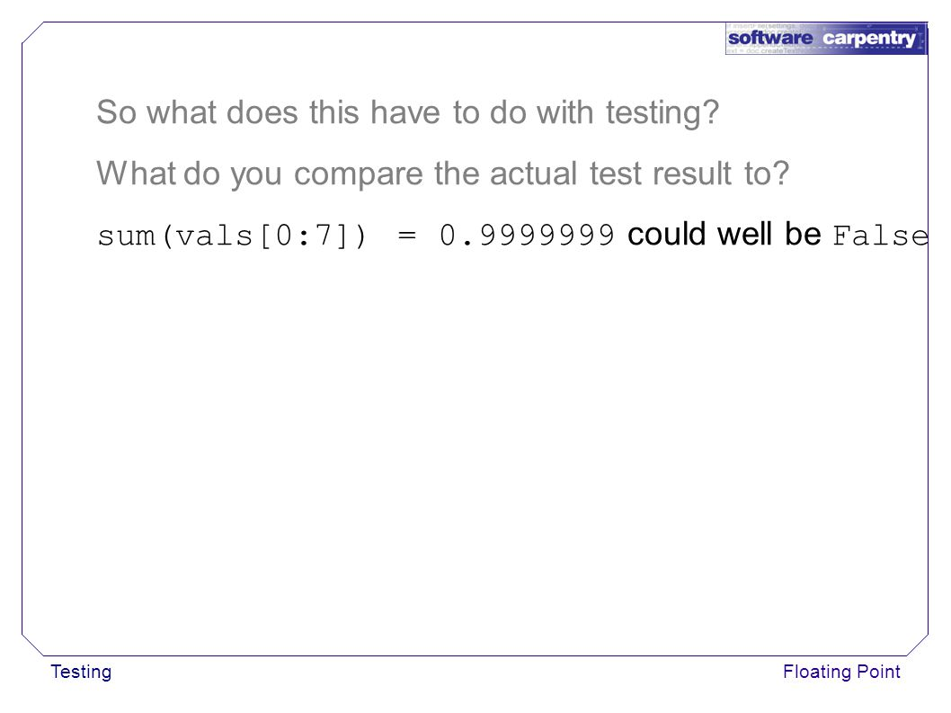 TestingFloating Point So what does this have to do with testing.