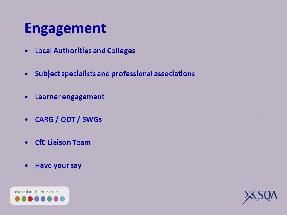 Engagement Local Authorities and Colleges Subject specialists and professional associations Learner engagement CARG / QDT / SWGs CfE Liaison Team Have your say