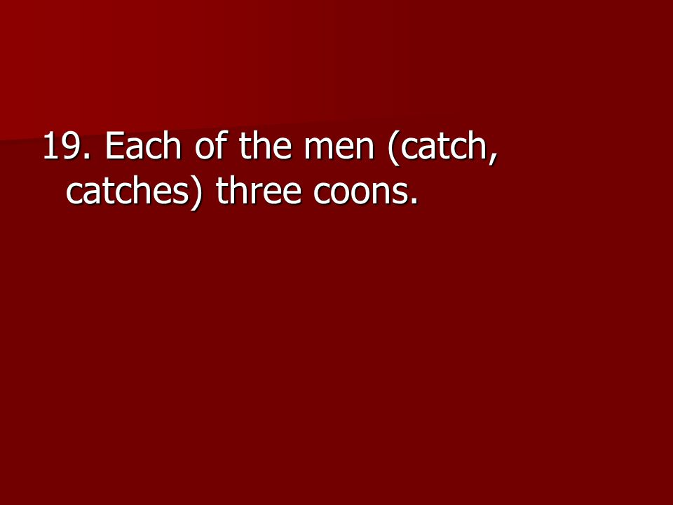 19. Each of the men (catch, catches) three coons.