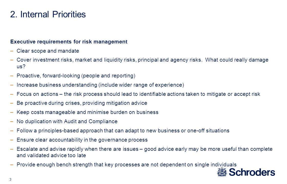 3 2. Internal Priorities Executive requirements for risk management –Clear scope and mandate –Cover investment risks, market and liquidity risks, prin