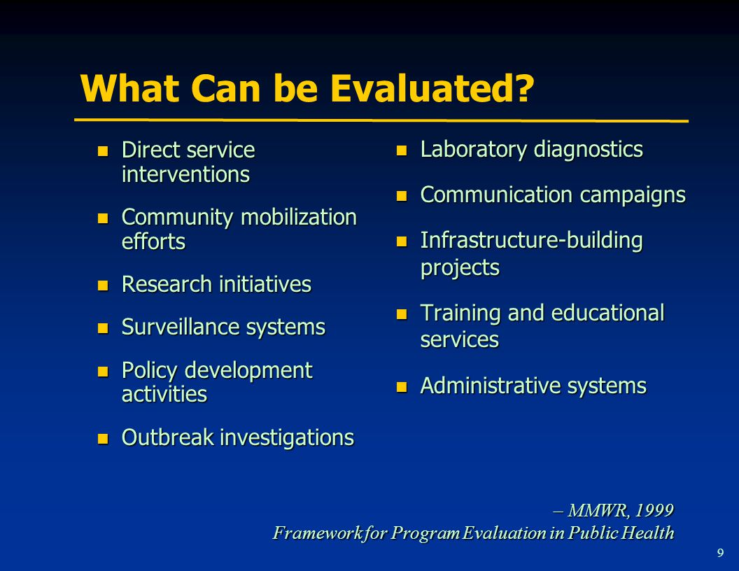 What Can be Evaluated.