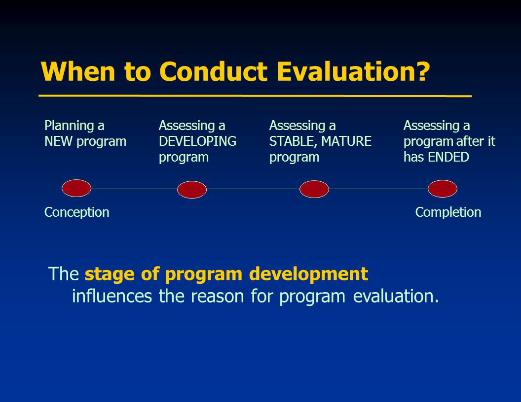 When to Conduct Evaluation.