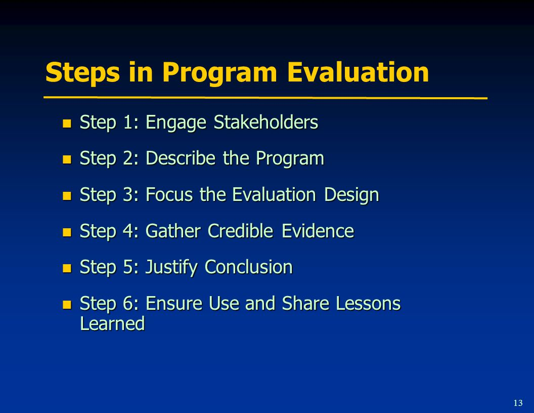 13 Steps in Program Evaluation Step 1: Engage Stakeholders Step 1: Engage Stakeholders Step 2: Describe the Program Step 2: Describe the Program Step