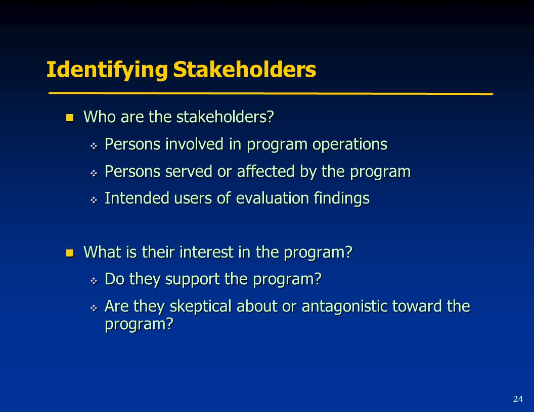 Identifying Stakeholders 24 Who are the stakeholders.