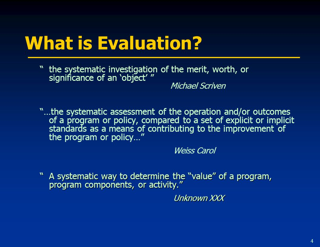 4 What is Evaluation.