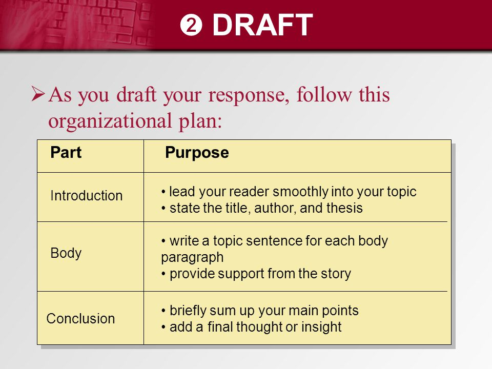 ➋ DRAFT  As you draft your response, follow this organizational plan: PartPurpose Introduction Body Conclusion lead your reader smoothly into your to
