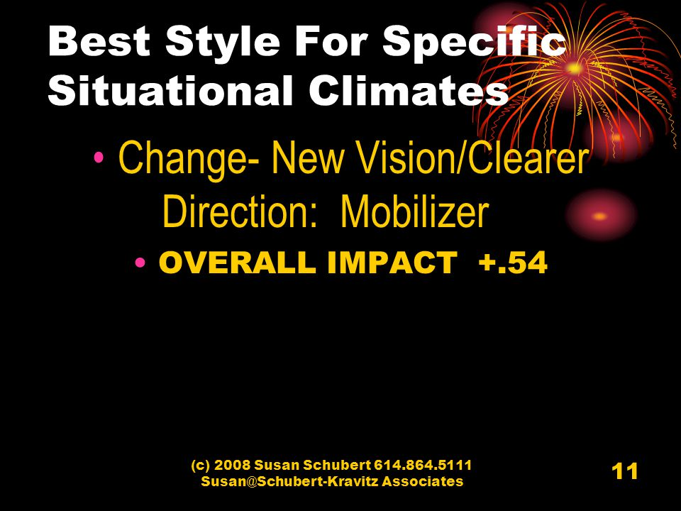 (c) 2008 Susan Schubert 614.864.5111 Susan@Schubert-Kravitz Associates 11 Change- New Vision/Clearer Direction: Mobilizer OVERALL IMPACT +.54 Best Style For Specific Situational Climates