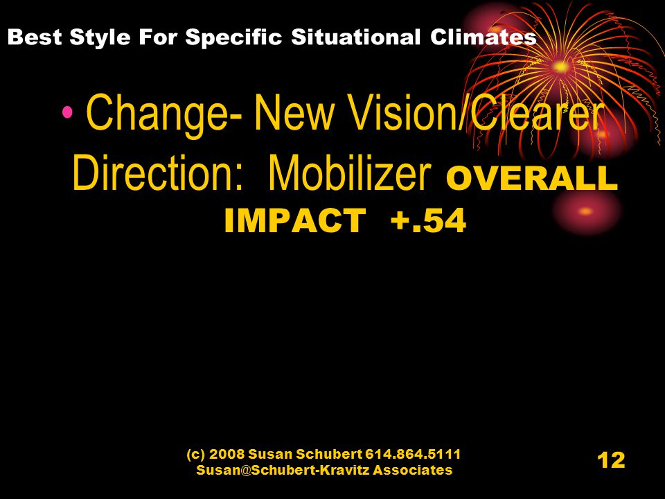 (c) 2008 Susan Schubert 614.864.5111 Susan@Schubert-Kravitz Associates 12 Best Style For Specific Situational Climates Change- New Vision/Clearer Direction: Mobilizer OVERALL IMPACT +.54