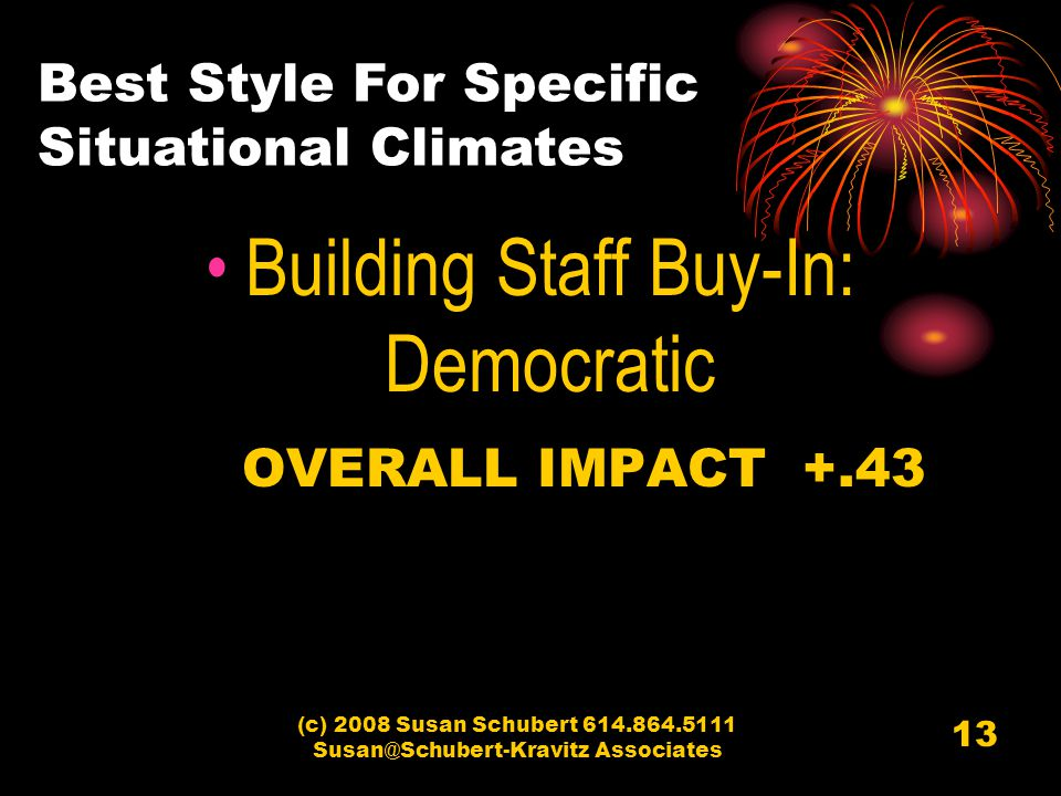 (c) 2008 Susan Schubert 614.864.5111 Susan@Schubert-Kravitz Associates 13 Building Staff Buy-In: Democratic OVERALL IMPACT +.43 Best Style For Specific Situational Climates