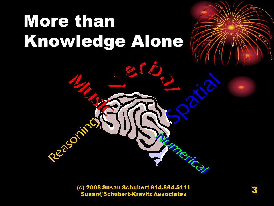 (c) 2008 Susan Schubert 614.864.5111 Susan@Schubert-Kravitz Associates 3 More than Knowledge Alone