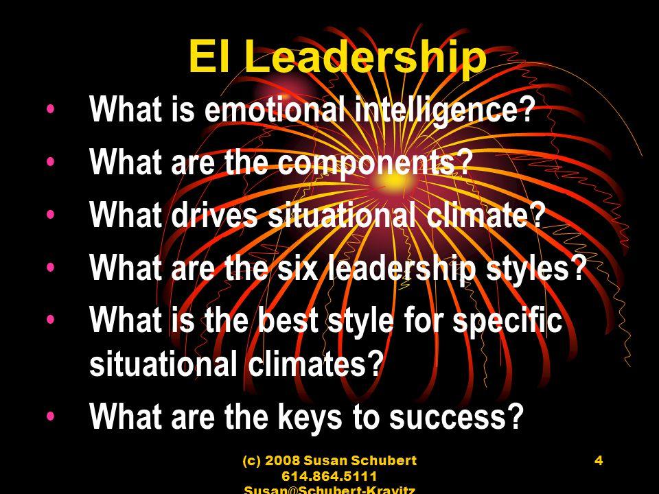 (c) 2008 Susan Schubert 614.864.5111 Susan@Schubert-Kravitz Associates 4 EI Leadership What is emotional intelligence? What are the components? What d