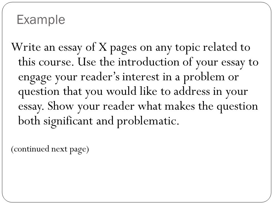 Write an essay of X pages on any topic related to this course.