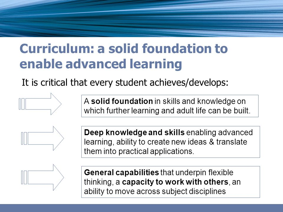 Curriculum: a solid foundation to enable advanced learning It is critical that every student achieves/develops: A solid foundation in skills and knowledge on which further learning and adult life can be built.