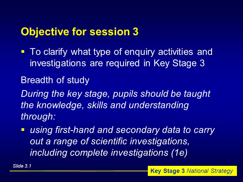 Key Stage 3 National Strategy Objective for session 3  To clarify what type of enquiry activities and investigations are required in Key Stage 3 Breadth of study During the key stage, pupils should be taught the knowledge, skills and understanding through:  using first-hand and secondary data to carry out a range of scientific investigations, including complete investigations (1e) Slide 3.1