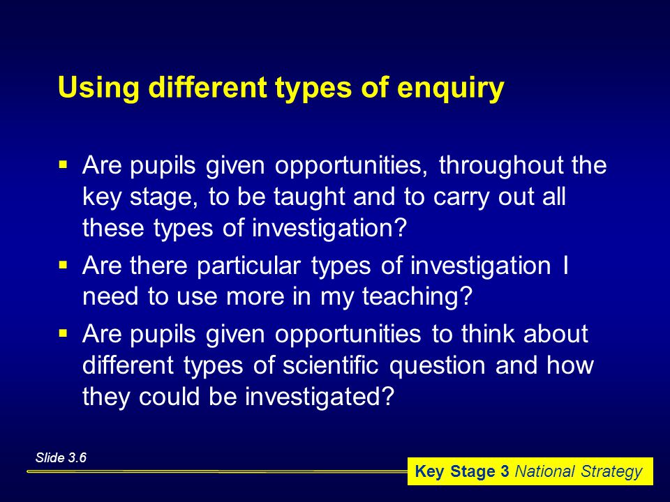 Key Stage 3 National Strategy Using different types of enquiry  Are pupils given opportunities, throughout the key stage, to be taught and to carry out all these types of investigation.