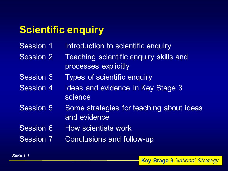 Key Stage 3 National Strategy Scientific enquiry Session 1Introduction to scientific enquiry Session 2Teaching scientific enquiry skills and processes explicitly Session 3Types of scientific enquiry Session 4Ideas and evidence in Key Stage 3 science Session 5Some strategies for teaching about ideas and evidence Session 6How scientists work Session 7Conclusions and follow-up Slide 1.1
