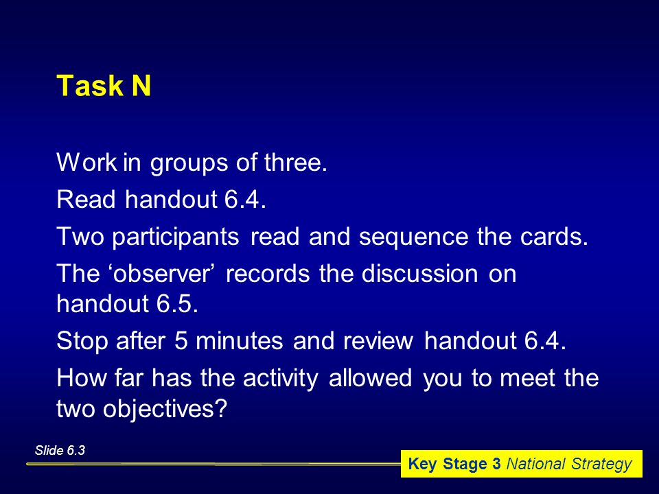 Key Stage 3 National Strategy Task N Work in groups of three.