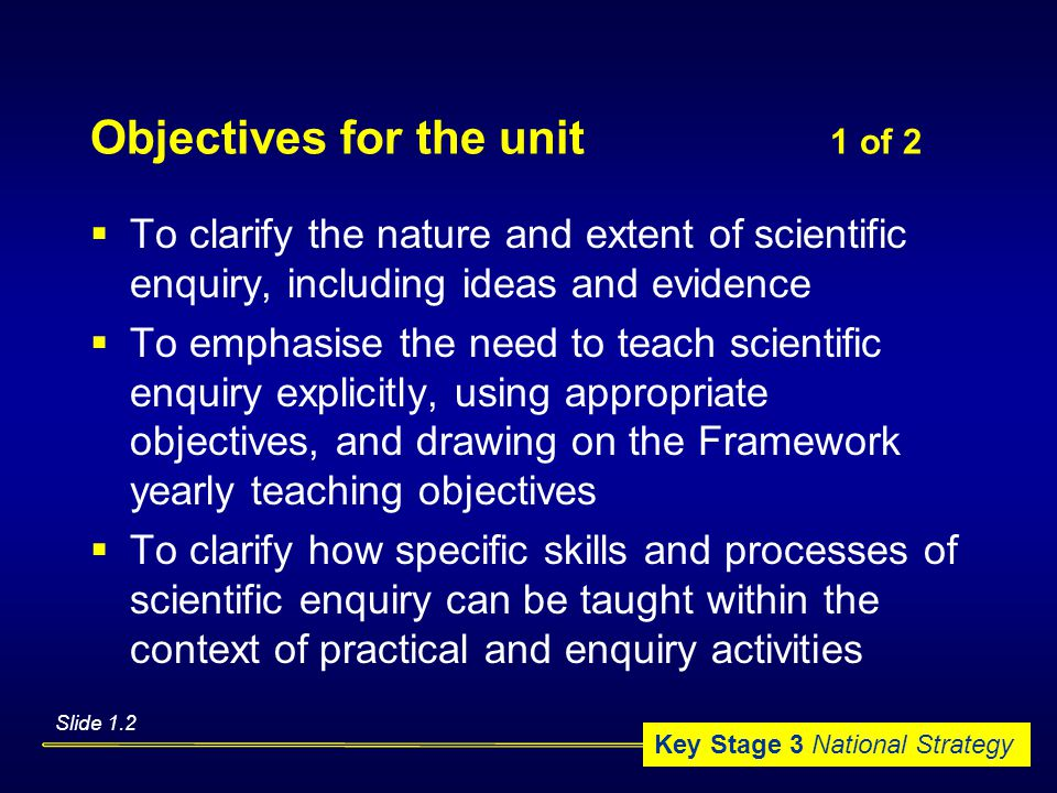 Key Stage 3 National Strategy Objectives for the unit 1 of 2  To clarify the nature and extent of scientific enquiry, including ideas and evidence  To emphasise the need to teach scientific enquiry explicitly, using appropriate objectives, and drawing on the Framework yearly teaching objectives  To clarify how specific skills and processes of scientific enquiry can be taught within the context of practical and enquiry activities Slide 1.2