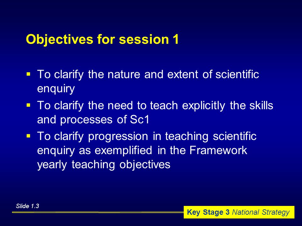Key Stage 3 National Strategy Objectives for session 1  To clarify the nature and extent of scientific enquiry  To clarify the need to teach explicitly the skills and processes of Sc1  To clarify progression in teaching scientific enquiry as exemplified in the Framework yearly teaching objectives Slide 1.3