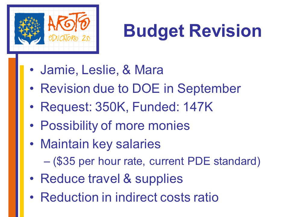 Budget Revision Jamie, Leslie, & Mara Revision due to DOE in September Request: 350K, Funded: 147K Possibility of more monies Maintain key salaries –($35 per hour rate, current PDE standard) Reduce travel & supplies Reduction in indirect costs ratio
