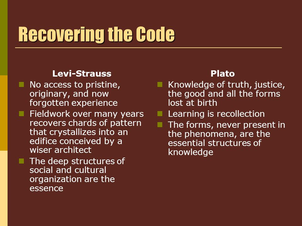 Recovering the Code Levi-Strauss No access to pristine, originary, and now forgotten experience Fieldwork over many years recovers chards of pattern that crystallizes into an edifice conceived by a wiser architect The deep structures of social and cultural organization are the essence Plato Knowledge of truth, justice, the good and all the forms lost at birth Learning is recollection The forms, never present in the phenomena, are the essential structures of knowledge