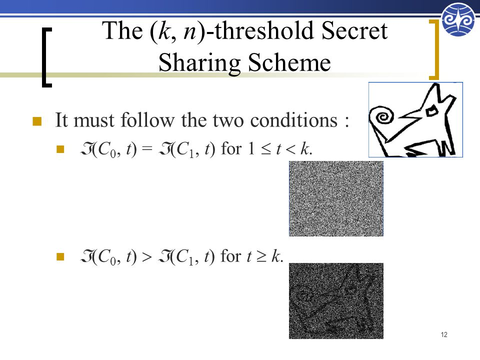 The (k, n)-threshold Secret Sharing Scheme 12 It must follow the two conditions :  (C 0, t) =  (C 1, t) for 1  t  k.