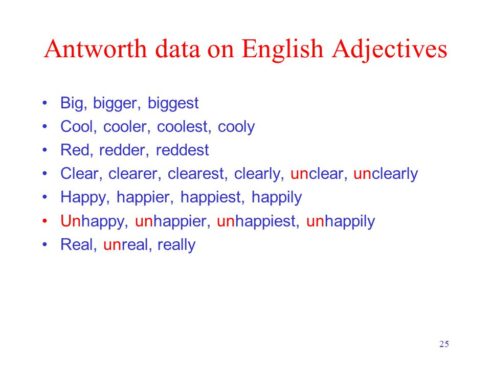 25 Antworth data on English Adjectives Big, bigger, biggest Cool, cooler, coolest, cooly Red, redder, reddest Clear, clearer, clearest, clearly, unclear, unclearly Happy, happier, happiest, happily Unhappy, unhappier, unhappiest, unhappily Real, unreal, really