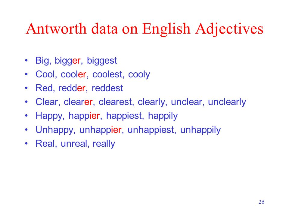 26 Antworth data on English Adjectives Big, bigger, biggest Cool, cooler, coolest, cooly Red, redder, reddest Clear, clearer, clearest, clearly, unclear, unclearly Happy, happier, happiest, happily Unhappy, unhappier, unhappiest, unhappily Real, unreal, really
