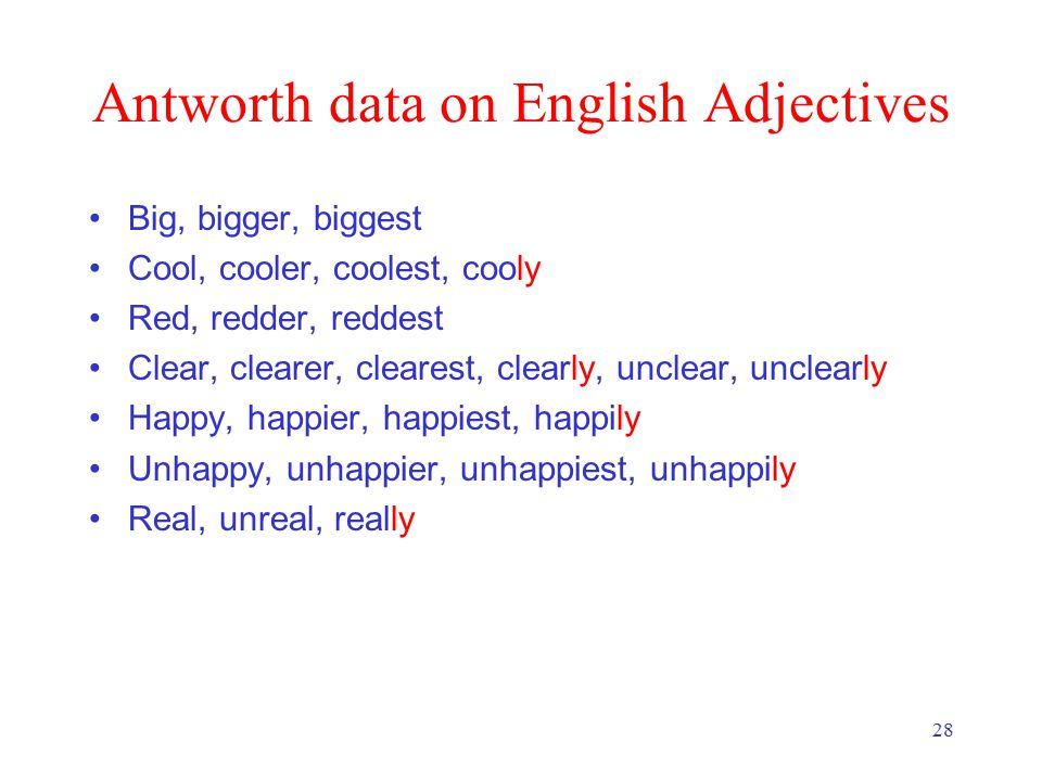 28 Antworth data on English Adjectives Big, bigger, biggest Cool, cooler, coolest, cooly Red, redder, reddest Clear, clearer, clearest, clearly, unclear, unclearly Happy, happier, happiest, happily Unhappy, unhappier, unhappiest, unhappily Real, unreal, really