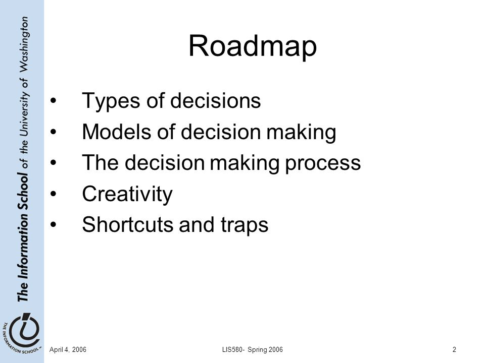 April 4, 2006LIS580- Spring 20062 Roadmap Types of decisions Models of decision making The decision making process Creativity Shortcuts and traps