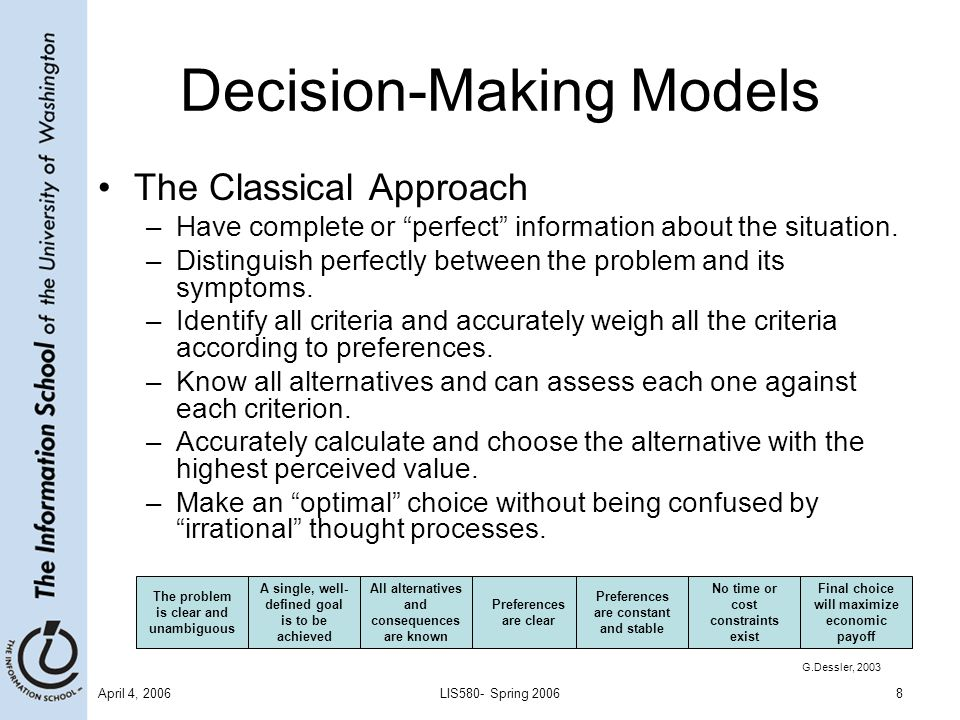 April 4, 2006LIS580- Spring 20069 Decision-Making Models (cont'd) The Administrative Approach –Bounded Rationality (Herbert Simon) The boundaries on rational decision making imposed by one's values, abilities, and limited capacity for processing information.
