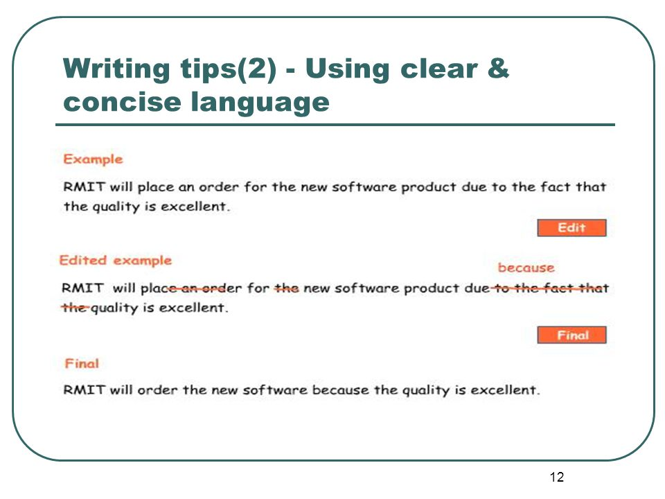 12 Writing tips(2) - Using clear & concise language