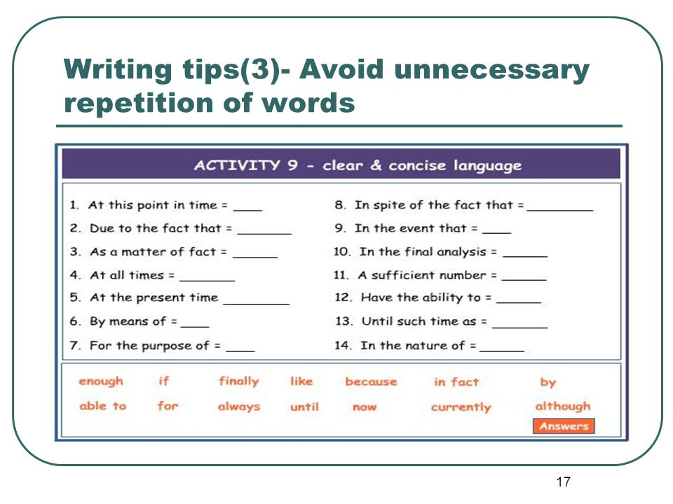 17 Writing tips(3)- Avoid unnecessary repetition of words