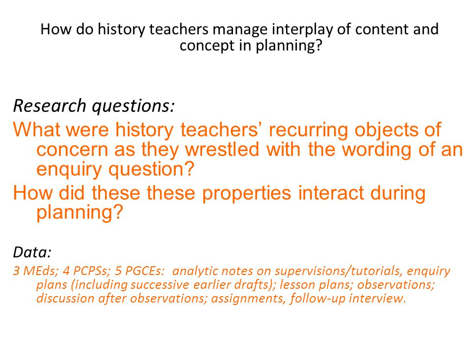 How do history teachers manage interplay of content and concept in planning.